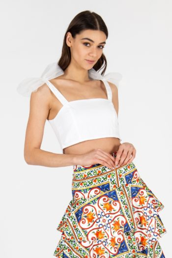 CROP TOP CON INSERTI IN TULLE