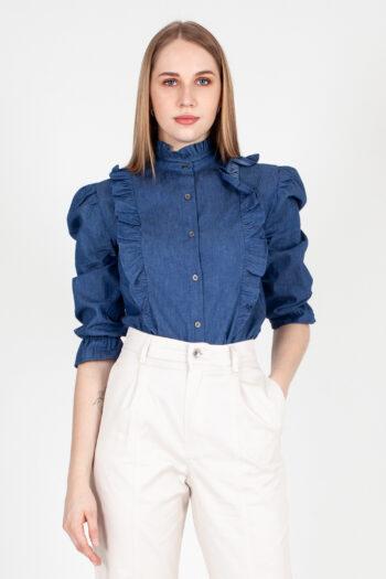 camicia chambray con rouches C138S1028-00105